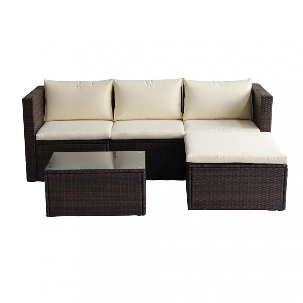 5 PC Wicker Sofa Patio Furniture Set Outdoor Garden Rattan Chairs w  Table by