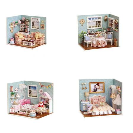 Baby Handmade Assembly Model House LED Lights Dust Cover Dollhouse Children Learning Education Doll House - image 2 de 9