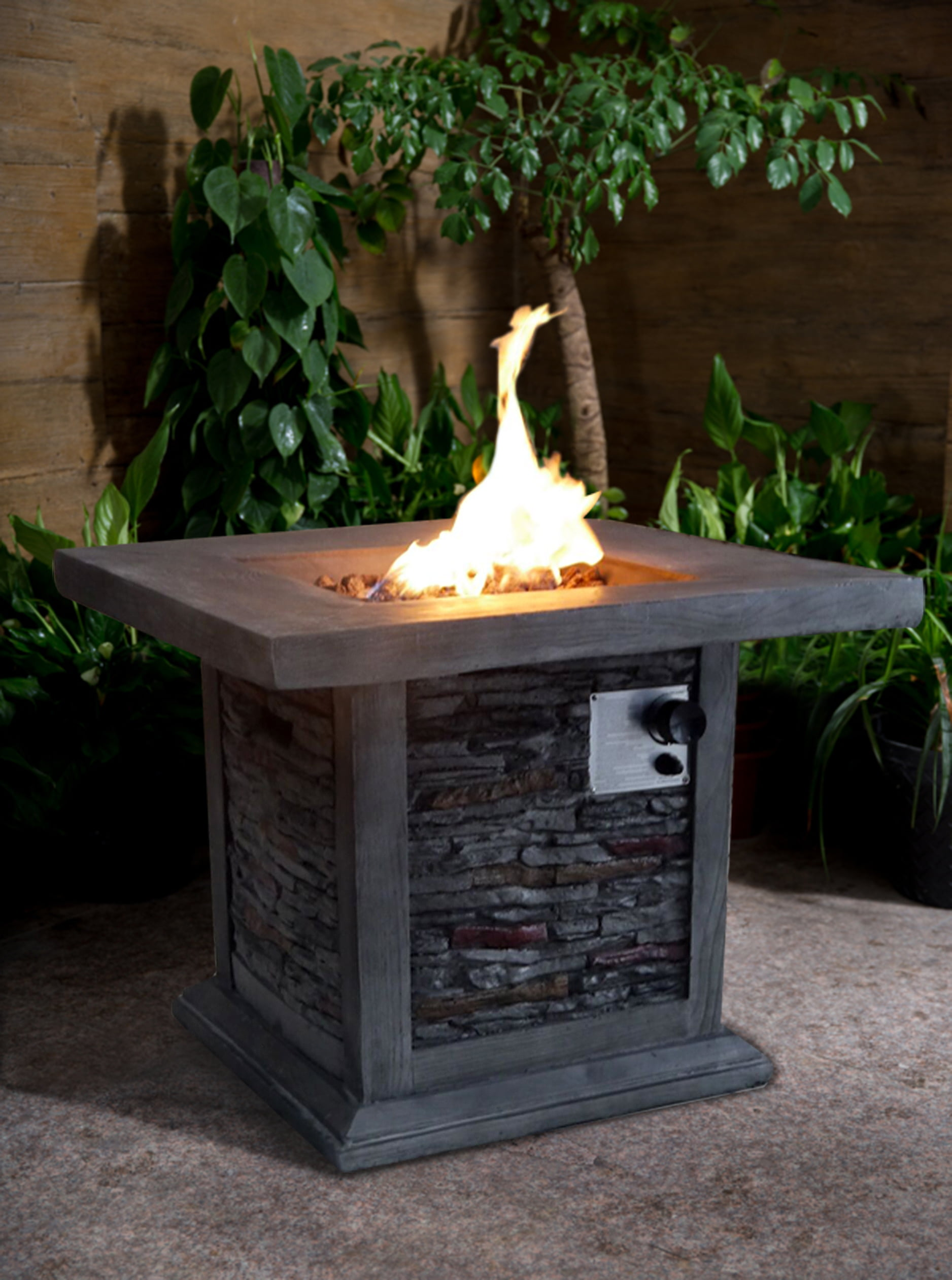 Guanacaste Gray Stone Gas Outdoor Firepit by Crawford & Burke