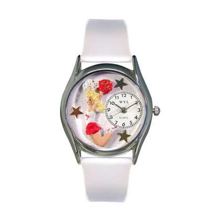 Whimsical Cheerleader White Leather And Silvertone Watch