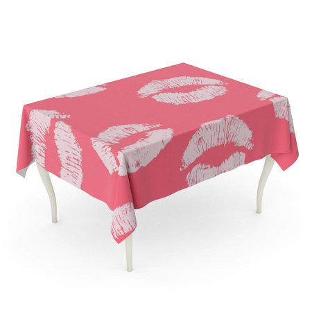 POGLIP Red Kiss Pink Lips Papper 14Th Affair Beauty Cosmetic Tablecloth Table Desk Cover Home Party Decor 52x70 inch - image 1 of 1