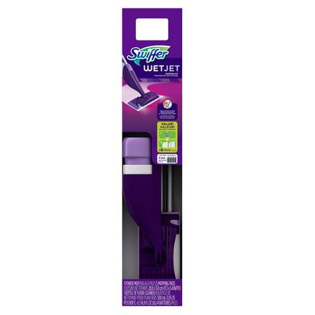 Swiffer Wetjet Wood Floor - Swiffer WetJet Floor Mop Starter Kit, 1 Power Mop, 5 Mopping Pads, and Floor Cleaner