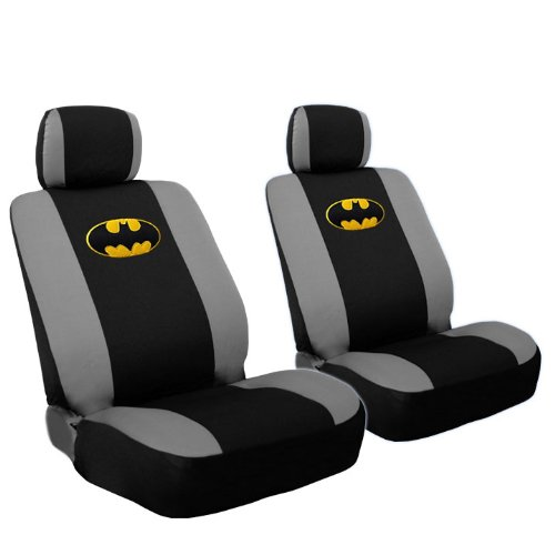 Deluxe Batman Car Seat Covers Bundled with 2 Classic Comic Book POW! Logo Headrest Covers Gift Set - Shipping Included