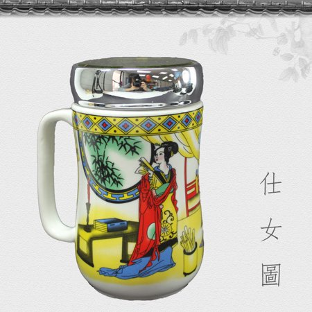 仕女圖 Ceramic Tea Cup Porcelain Coffee Mug for Latte Espresso Mocha Green Black Tea Classic Asian Beauty Design w Lid 12 oz
