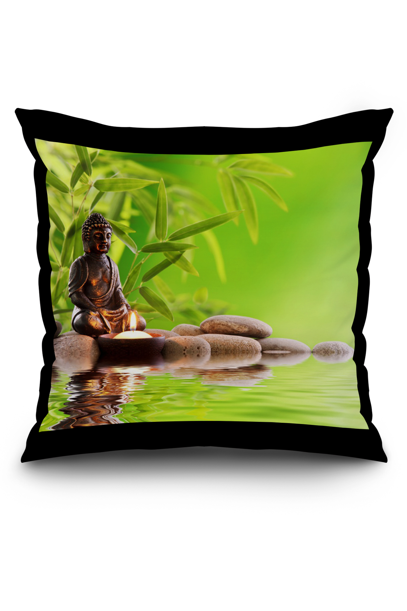 Buddha Zen Statue With Bamboo Photography A 89957 20x20