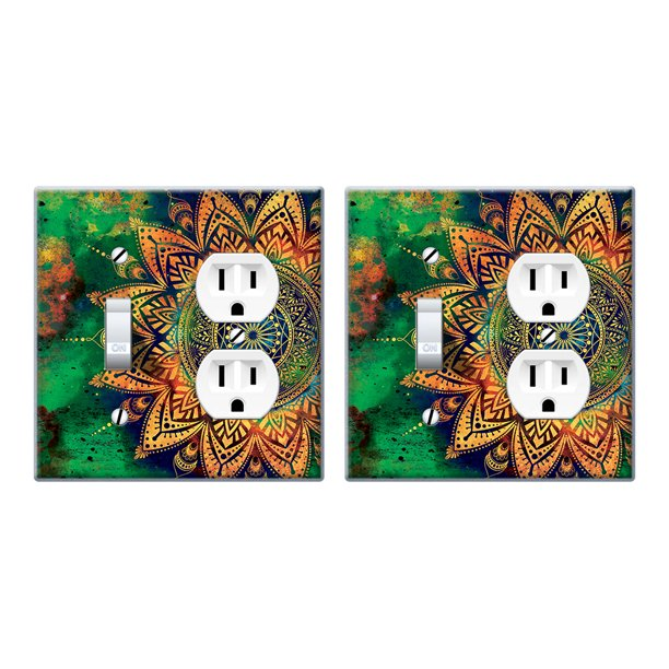 Wirester Double 1 Gang Toggle Light And 1 Gang Duplex Outlet Switch Plate Wall Plate Cover 2pcs Ancient Mandala Walmart Com Walmart Com