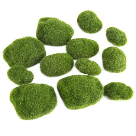 Qiilu 12Pcs Green Artificial Moss Stones Simulation Grass Bryophyte Bonsai Garden DIY Landscape Decor, Simulation Moss, Artificial Moss Stone - image 6 of 8