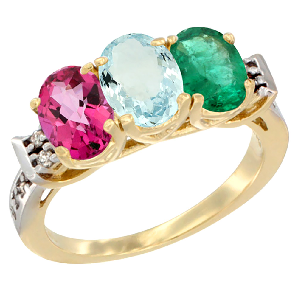 14K Yellow Gold Natural Pink Topaz, Aquamarine & Emerald Ring 3-Stone 7x5 mm Oval Diamond Accent, sizes 5 10 by WorldJewels