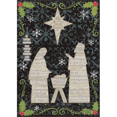 LPG Greetings Jesus, Mary and Joseph Music Sheets with Glitter Annie LaPoint Religious Christmas Card