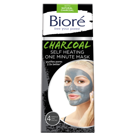 Biore Charcoal Self-Heating One Minute Mask (4 Count) (Jigsaw Face Mask)