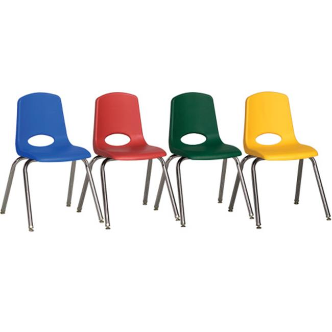 Early Childhood Resources ELR-15141-ASG 10'' Stack Chair-Chrome Legs w/ Glide-6pc-AS