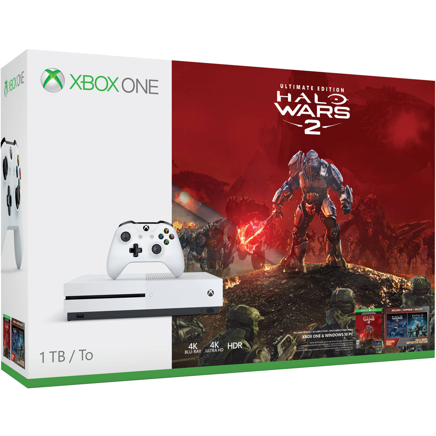 Microsoft Xbox One S 1TB Halo Wars 2 Bundle, White, 234-00128
