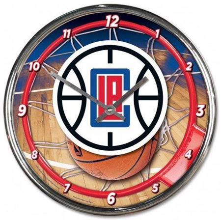 Los Angeles Clippers Clock Round Wall Style Chrome - image 1 of 1