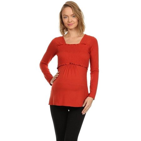 223a3bafd BellyMoms - BellyMoms Maternity Women s Talia Smocked Empire Long Sleeve Nursing  Top - Walmart.com