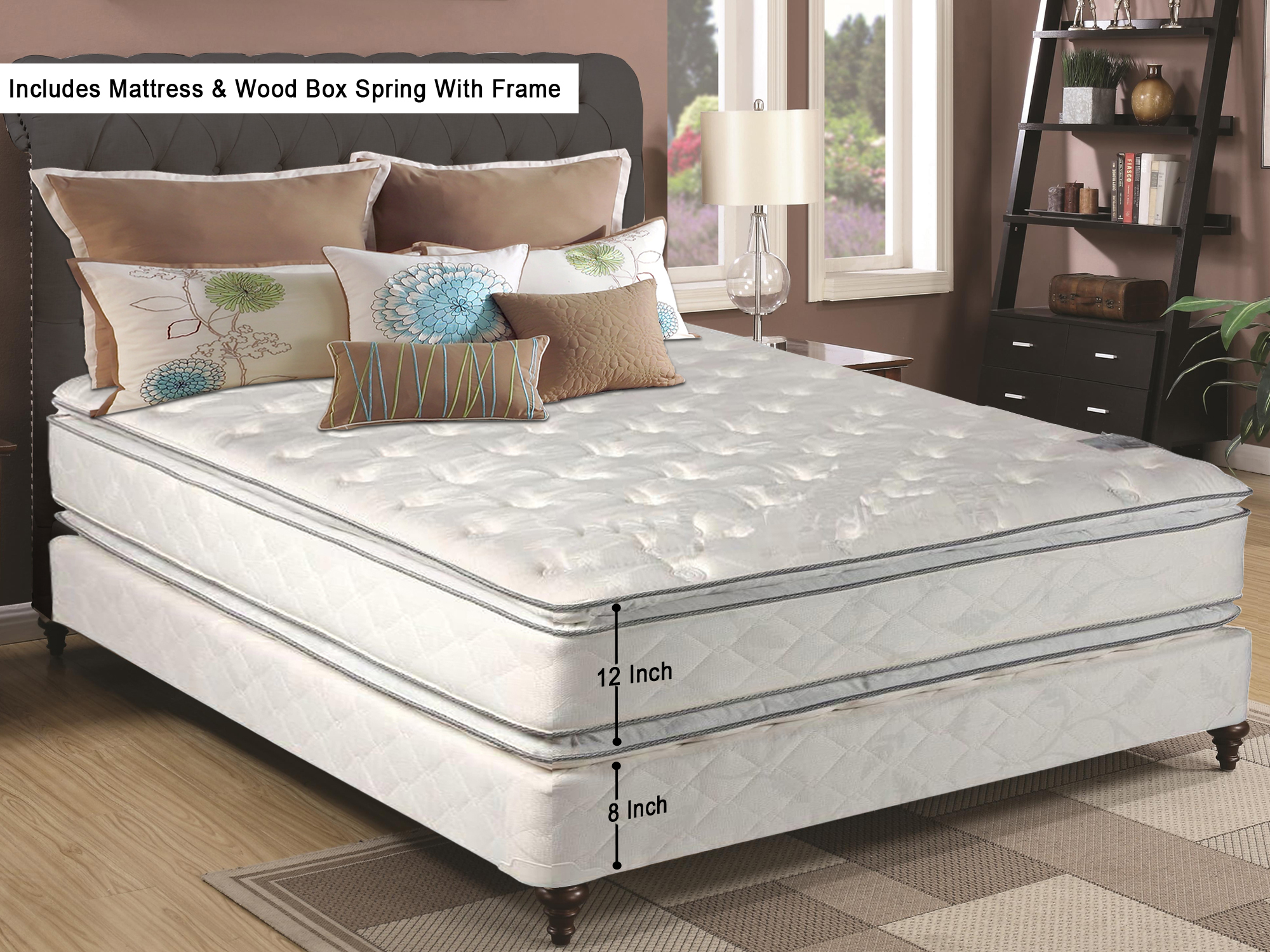 Continental Sleep Medium Plush Pillow Top 12 Inch Innerspring Mattress and Box Spring with Frame by Continental Sleep
