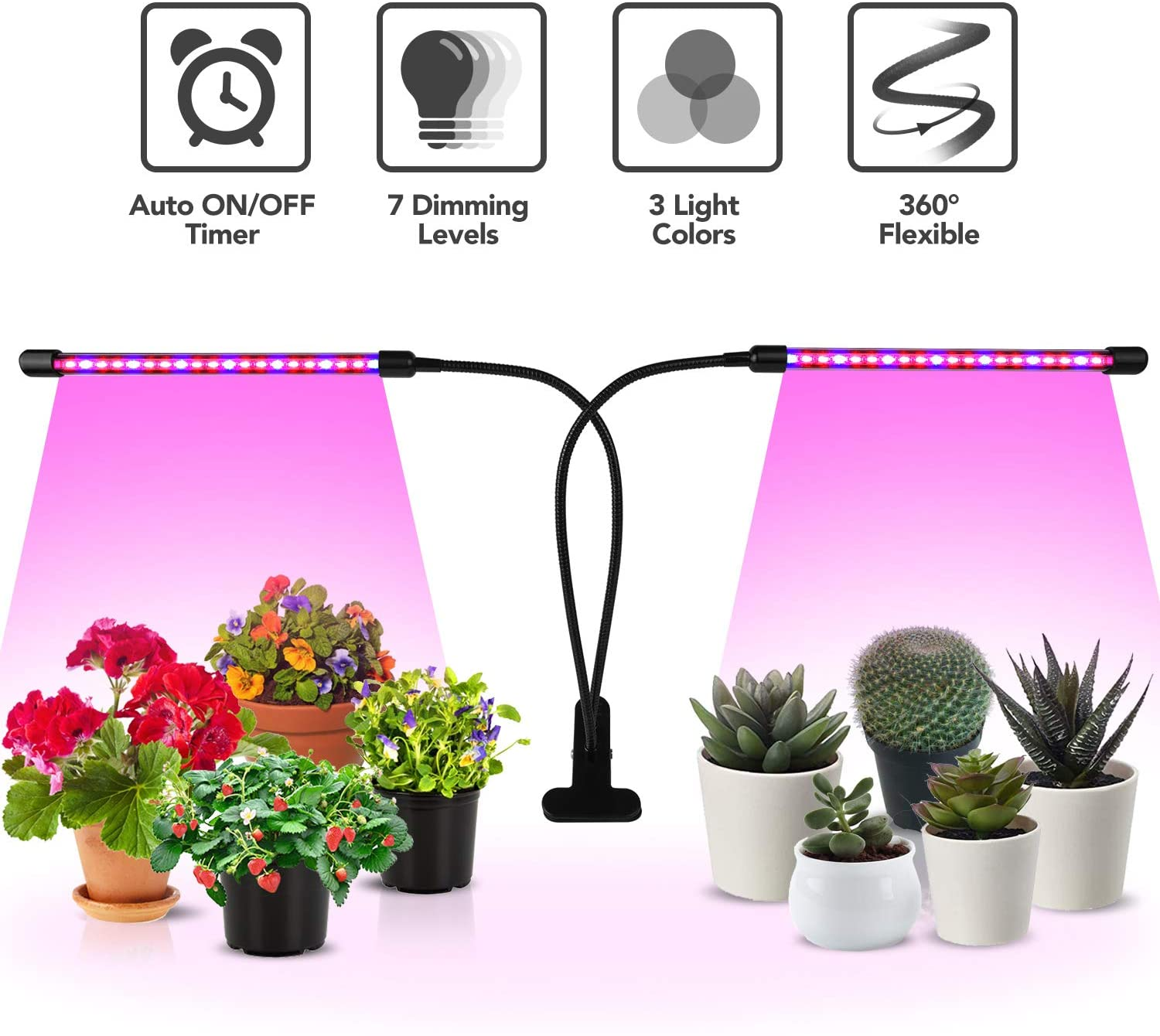 Plant Grow Light USB,27W 54 Leds Three Head Plant Grow Light 5 Levels of Dimming Timing Waterproof LED Plant Growing Lamp for Indoor Plants