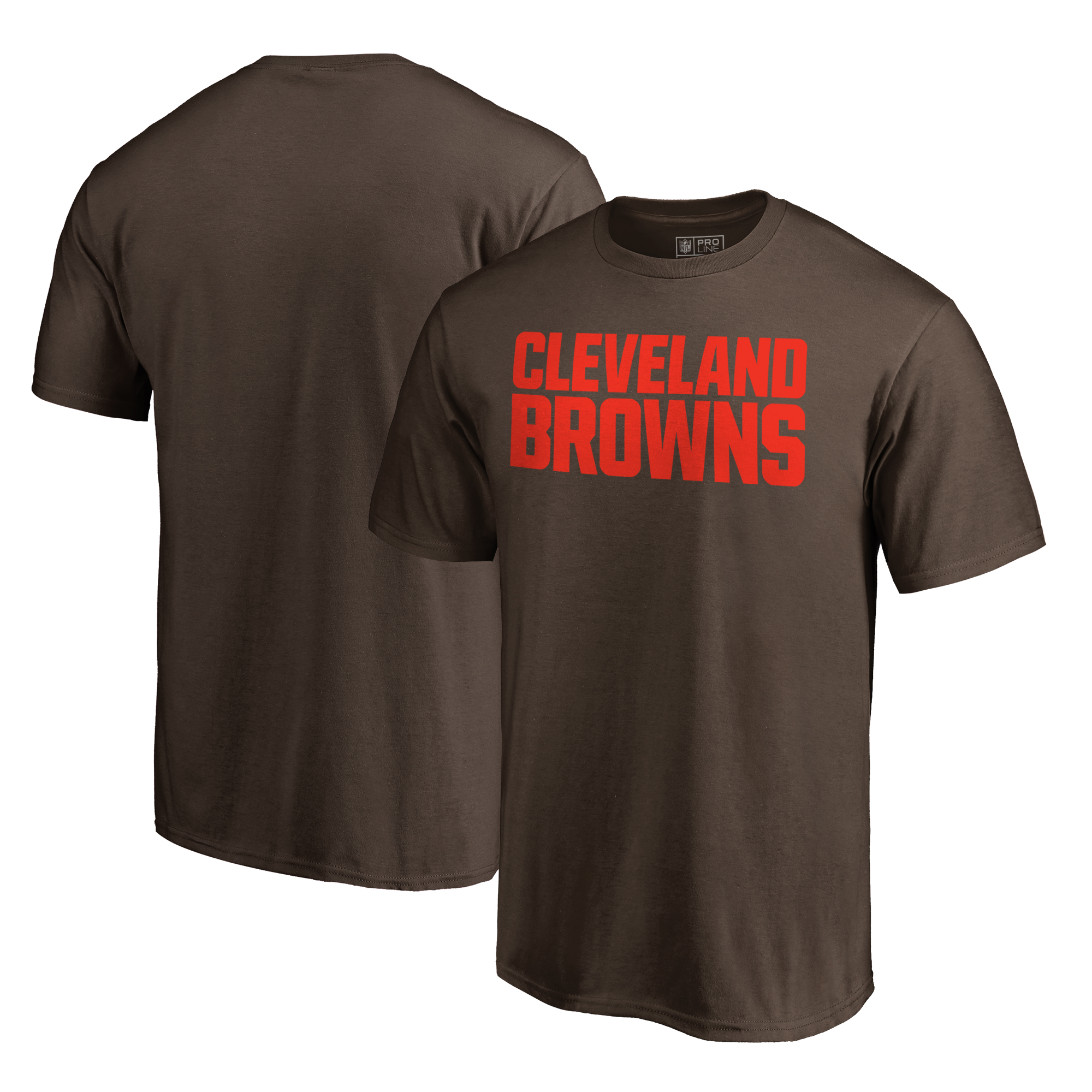 Cleveland Browns NFL Pro Line by Fanatics Branded Wordmark T-Shirt - Brown