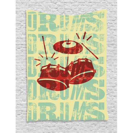 Vintage Tapestry, Groovy Retro Drumming Poster Design Percussion Rock Music Instrument Play Vibe Hit, Wall Hanging for Bedroom Living Room Dorm Decor, Red Yellow, by Ambesonne (Rock N Roll Room Decor)