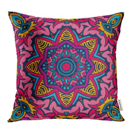 CMFUN Colorful African Abstract Tribal Vintage Ethnic Ornamental Bright Festive Sun Mosaic Pillow Case Pillow Cover 16x16 inch Throw Pillow Covers - Sun Mosaic