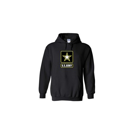 Army Logo Hooded Sweatshirt - US Army Emblem Logo PT Hoodie United States Army Hooded Sweatshirt (X-Large, Black)