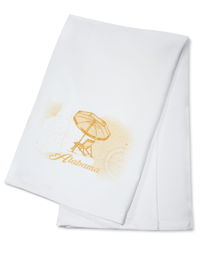 Alabama Beach Chair & Umbrella Yellow Coastal Icon Lantern Press Artwork (100% Cotton Kitchen Towel) by Lantern Press