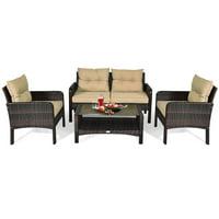4 Piece Patio Conversation Set Rattan Wicker Loveseat Sofa Coffee Table & Glass Top