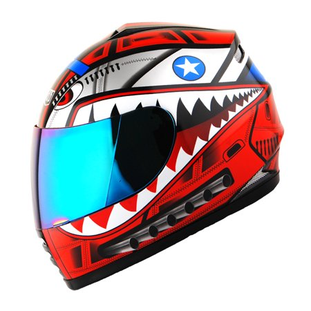 WOW Motorcycle Full Face Helmet Street Bike BMX MX Youth Kids HKY-B15 Shark Red