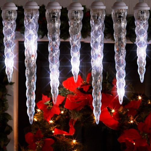 Gemmy LightShow LED Shooting Star Icicle Christmas Lights, 10 Count White, 10.5' Long