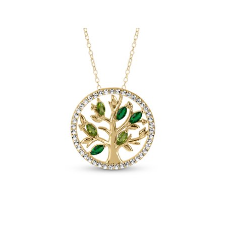 Created White Sapphire and Simulated Peridot and Emerald 18kt Gold over Sterling Silver Tree of Life Necklace, 18