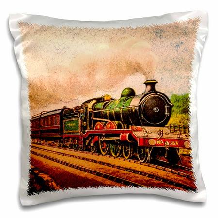 3dRose Magic Lantern Slide Vintage Steam Engine Locomotive Train Railroad - Pillow Case, 16 by 16-inch