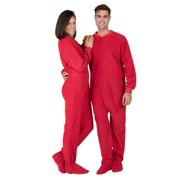 "Footed Pajamas - Bright Red Adult Fleece Onesie - Adult - Large (Fits 6'0 - 6'4"")"