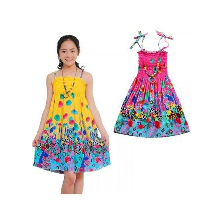 Tinymills Summer Girls Baby Boho Children Clothing Sundresses Vestidos Bohemian Beach Dress Cotton Dresses Kids Clothes Description:Size110 120 130 140 150 160ColorYellow RedAs pictures