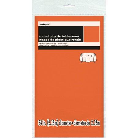 "Plastic Tablecover 84"" Round-Orange - image 2 de 2"