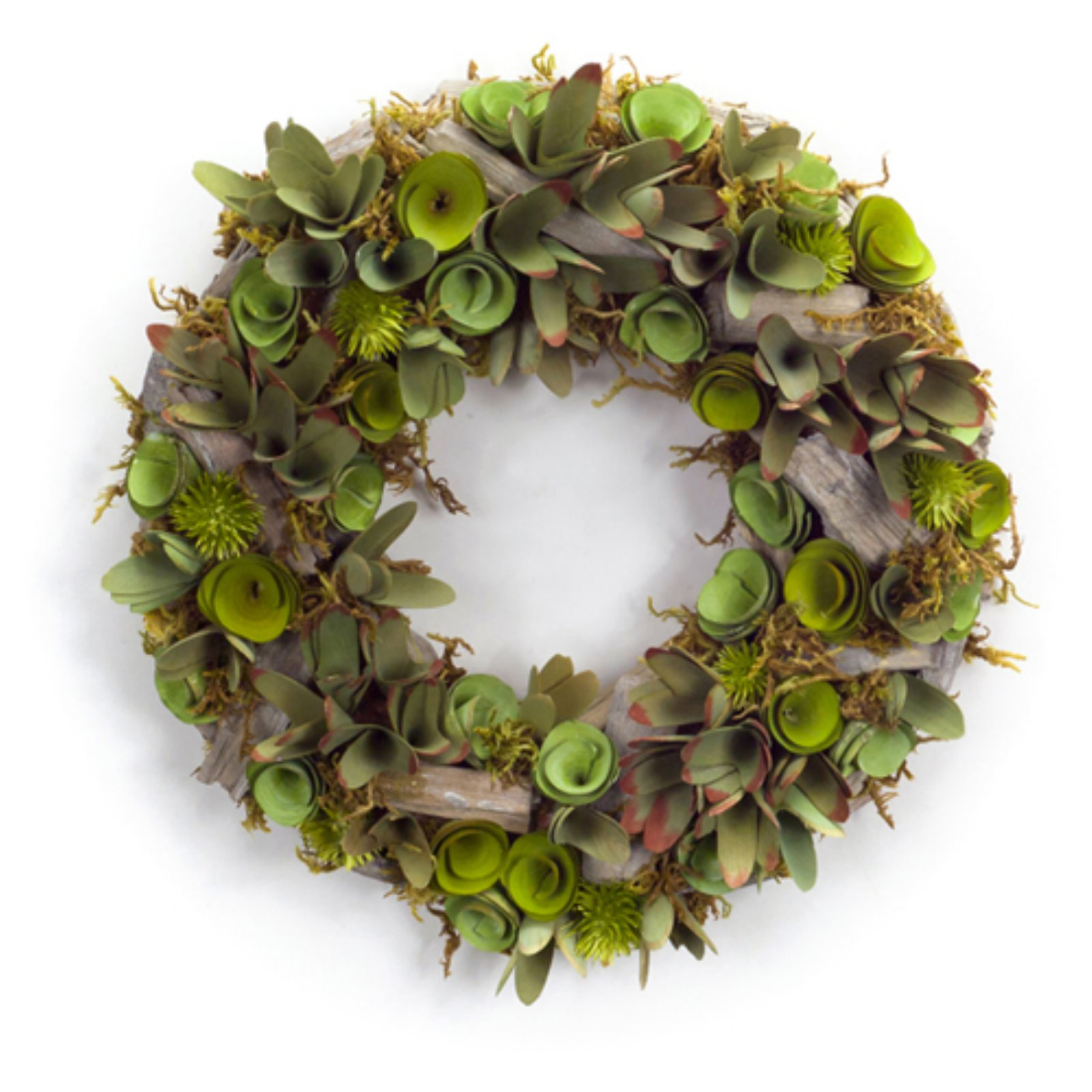Melrose International 15 in. Succulent and Wood Wreath