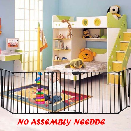 Palace Gates (Ktaxon Upgraded Installed Fireplace Safety Fence Baby Gate/Fence BBQ Pet Metal Fire Gate Baby Play Yard with Door 5 Panels Safety Gate for)