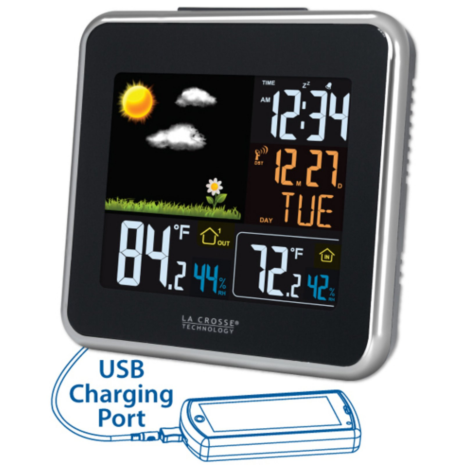 La Crosse Technology Wireless Atomic Color Weather Station with USB Charging