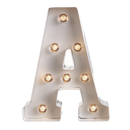 Darice Light Up Marquee Letter: White Letter A, 9.875 - Light Up Jewelry