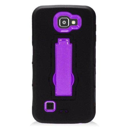 insten Symbiosis Soft Hybrid Rubber Hard Case with stand For LG Optimus Zone 3 / Spree - Black/Purple (Lg Optimus 2x P990)