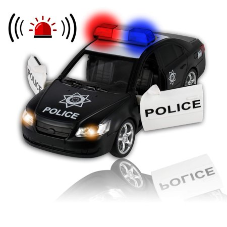 WolVol Friction Powered Police Car - Push & Go with Lights and -
