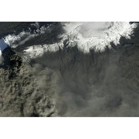Satellite View Of An Ash Plume Rises From Icelands Eyjafjallajokull Volcano Canvas Art   Stocktrek Images  34 X 24