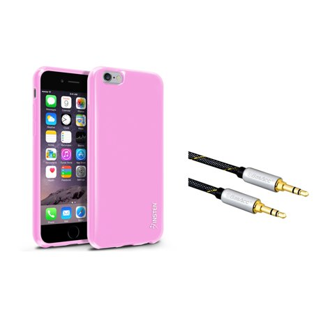 "Insten Light Pink Jelly TPU Slim Skin Gel Rubber Cover Case for iPhone 6 6S 4.7"" (with 3.5mm Audio Extension Cable M/M)"