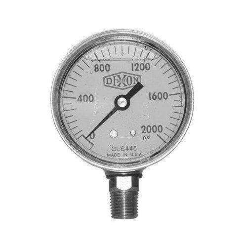 Dixon Valve Brass Liquid Filled Gauges - 2 1/2 brss cb 0-3000psi