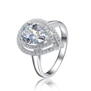 Collette Z  Sterling Silver with Rhodium Plated Clear Pear with Round Cubic Zirconia Double Halo Engagement Ring 7