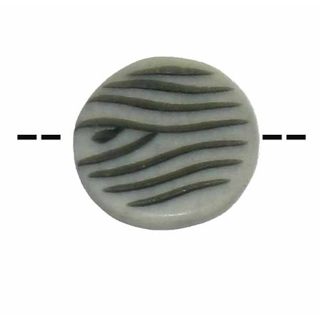 One Focal Hand Painted Bone Bead 24mm Round Black White