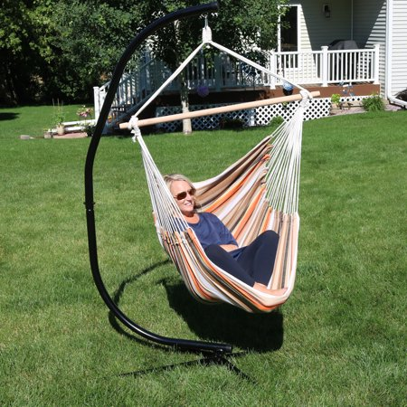 Sunnydaze Jumbo Extra Large Hammock Chair With C Stand Beach Sunrise For Indoor Or Outdoor Use Max Weight 300 Pounds