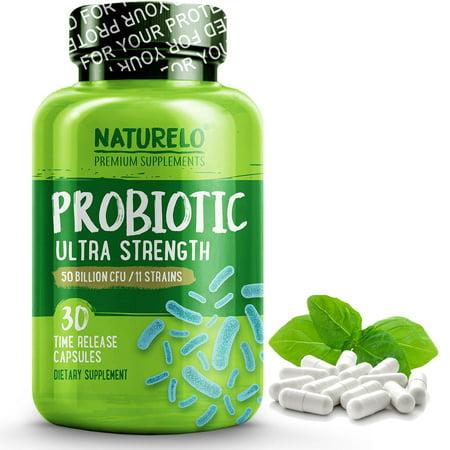Probiotic Supplement - Ultra Strength Probiotics - 50 Billion CFU - 11 Strains - No Refrigeration Needed - 30 Capsules (Probiotics No Refrigeration)