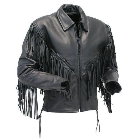 V Fringed Leather Motorcycle Jacket for Women