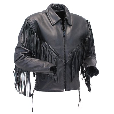 - V Fringed Leather Motorcycle Jacket for Women #L452ZFB