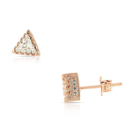 """925 Sterling Silver White Clear CZ Triangle Stud Earrings, 0.25"""""""