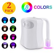 2PACK Toilet Night Light Motion Activated 8 Color Changing Led Toilet Seat Light Motion Sensor Toilet Bowl Light